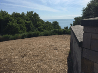 A brown patch of ground overlooking Lake Michigan with trees