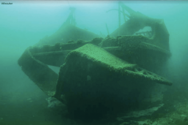 The sunken, algae-covered remains of the shipwrecked Milwaukee car ferry