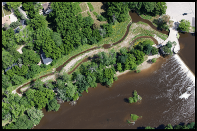 An aerial view of the Mequon-Thiensville Fishway