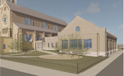 A rendering of the new green infrastructure project outside St. Francis Assisi Church